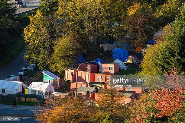The sun begins to set on the homeless encampment known as Nickelsville on November 3 in Seattle Washington Seattle located in King County is the...