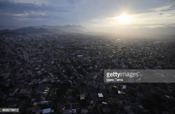 The sun begins to set over the city on March 17 2017 in Rio de Janeiro Brazil Seven months after the Rio hosted the first Olympic games in South...