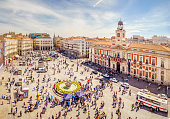 The Puerta del Sol square is the main public square in the city of Madrid, Spain. In the middle of the square is located the office of the President of the Community of Madrid.