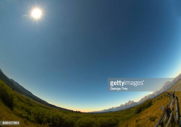 The sun has just come out of the full eclipse over Grand Teton National Park on August 21 2017 outside Jackson Wyoming Thousands of people have...