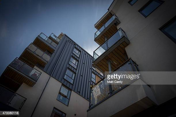 The sun illuminates properties that were recently built by a housing association to provide affordable homes in a mixed use development called J3 on...
