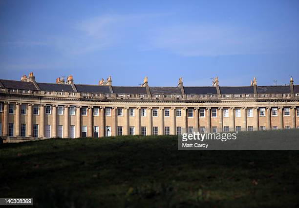 The sun illuminates the Royal Crescent in the heart of Georgian Bath on March 1 2012 in Bath England One of the most popular tourist destinations in...
