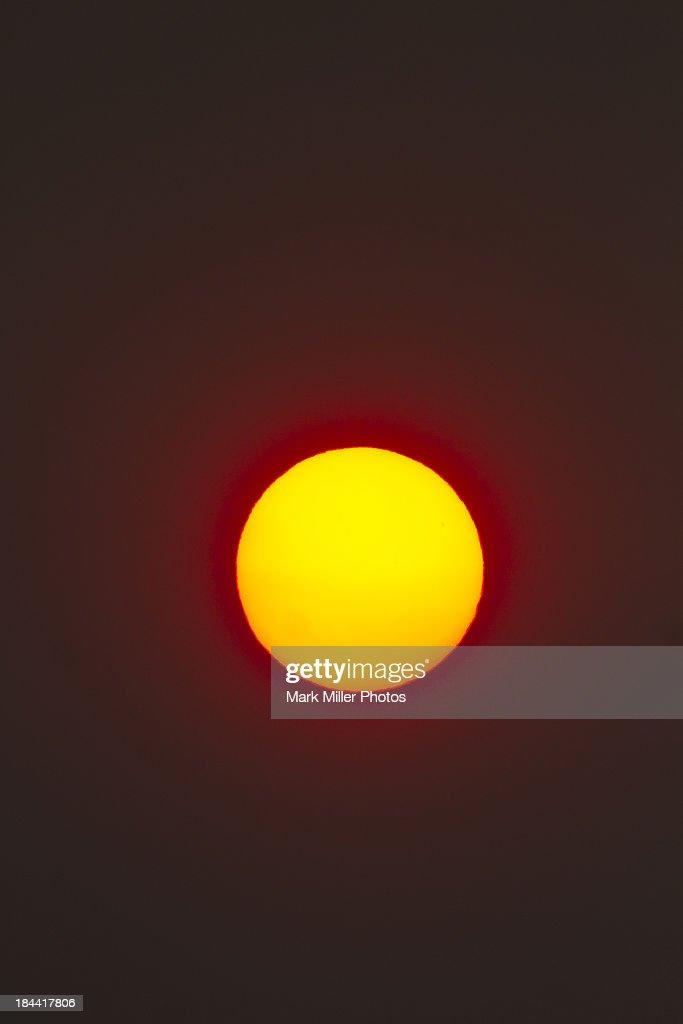 The sun in Forest Fire Smoke Haze