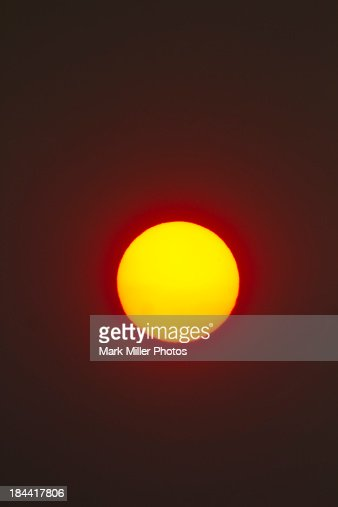 The sun in Forest Fire Smoke Haze : Stock Photo