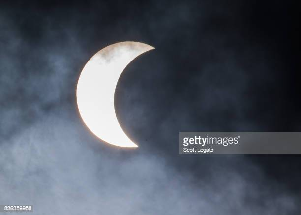 The sun is eclipsed by the moon on August 21 2017 in Detroit Michigan