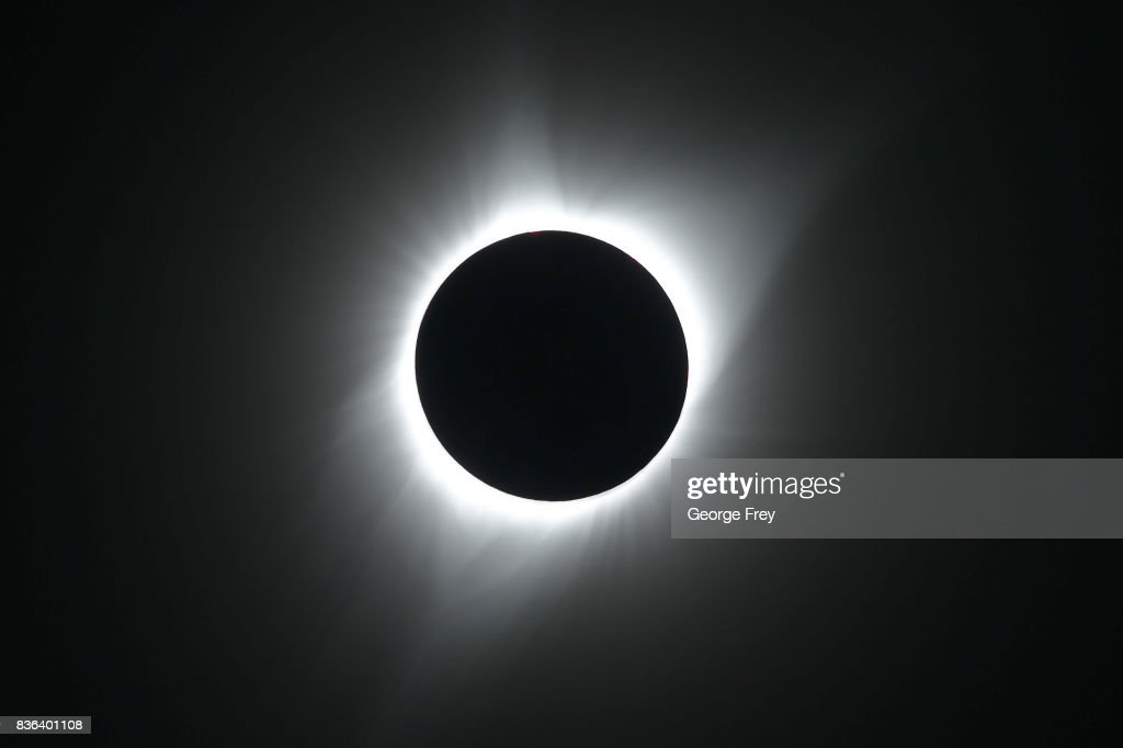 The sun is in full eclipse over Grand Teton National Park on August 21, 2017 outside Jackson, Wyoming. Thousands of people have flocked to the Jackson and Teton National Park area for the 2017 solar eclipse which will be one of the areas that will experience a 100% eclipse on Monday August 21, 2017.