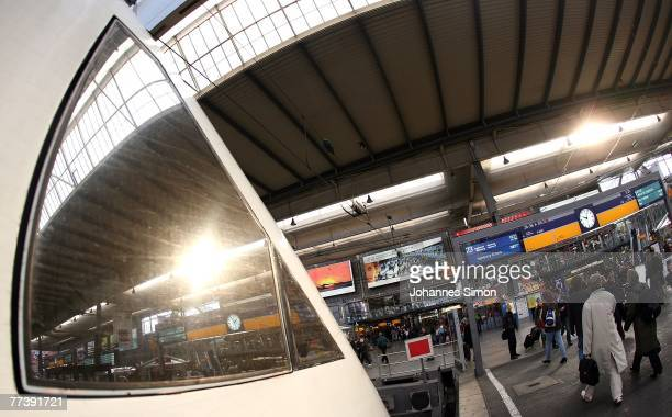 The sun is reflected in the window of an ICE train driver's cabin at Hauptbahnhof Main Station on October 18 2007 in Munich Germany Due to a new...