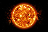 Unique 3D model of the sun (or any star) with surface activity and solar flares.