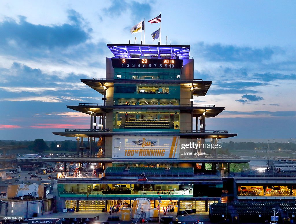 The sun rises behind the pagoda on the morning of the 100th running of the Indianapolis 500 at Indianapolis Motorspeedway on May 29, 2016 in Indianapolis, Indiana.
