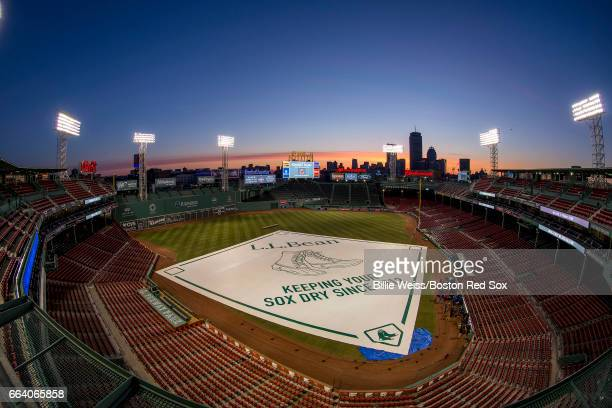 The sun rises over Fenway Park before the Boston Red Sox home opener against the Pittsburgh Pirates on April 3 2017 at Fenway Park in Boston...