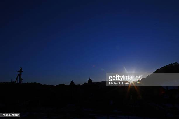 The sun rises over the Alpensia Ski Jumping Centre in the Alpensia Sports Park on February 12 2015 in the mountain cluster of Pyeongchang South Korea...