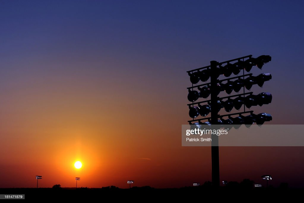The sun set can be seen during the NASCAR Nationwide Series Virginia 529 College Savings 250 at Richmond International Raceway on September 7, 2012 in Richmond, Virginia.