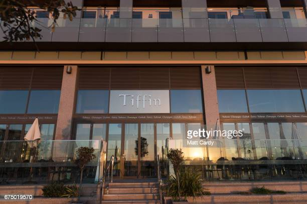 The sun set is reflected in a restaurant overlooking yachts in Elizabeth Marina on April 12 2017 in St Helier Jersey Jersey which is not a member of...