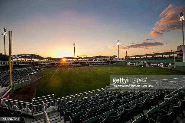 The sun sets after a Grapefruit League game between the Boston Red Sox and the Tampa Bay Rays on March 7 2016 at JetBlue Park at Fenway South in Fort...