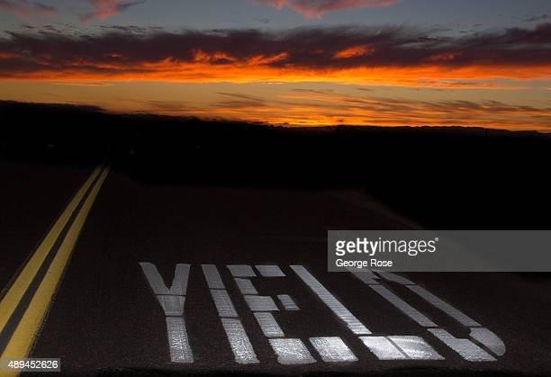The sun sets along a deserted Armour Ranch Road on August 29 in Santa Ynez California Because of its close proximity to Southern California and Los...