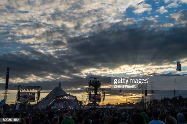 The sun sets as Biffy Clyro perform on the Pyramid Stage at Glastonbury Festival Site on June 25 2017 in Glastonbury England Glastonbury Festival of...