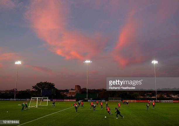 The sun sets as the team play a short match during the Brazil training session at Randburg High School on June 4 2010 in Johannesburg South Africa...