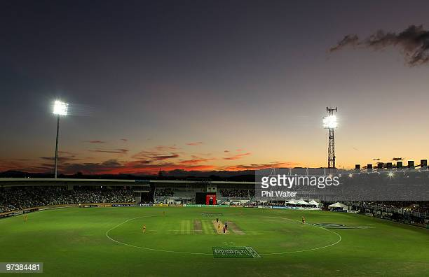 The sun sets at McLean Park during the First One Day International match between New Zealand and Australia at McLean Park on March 3 2010 in Napier...