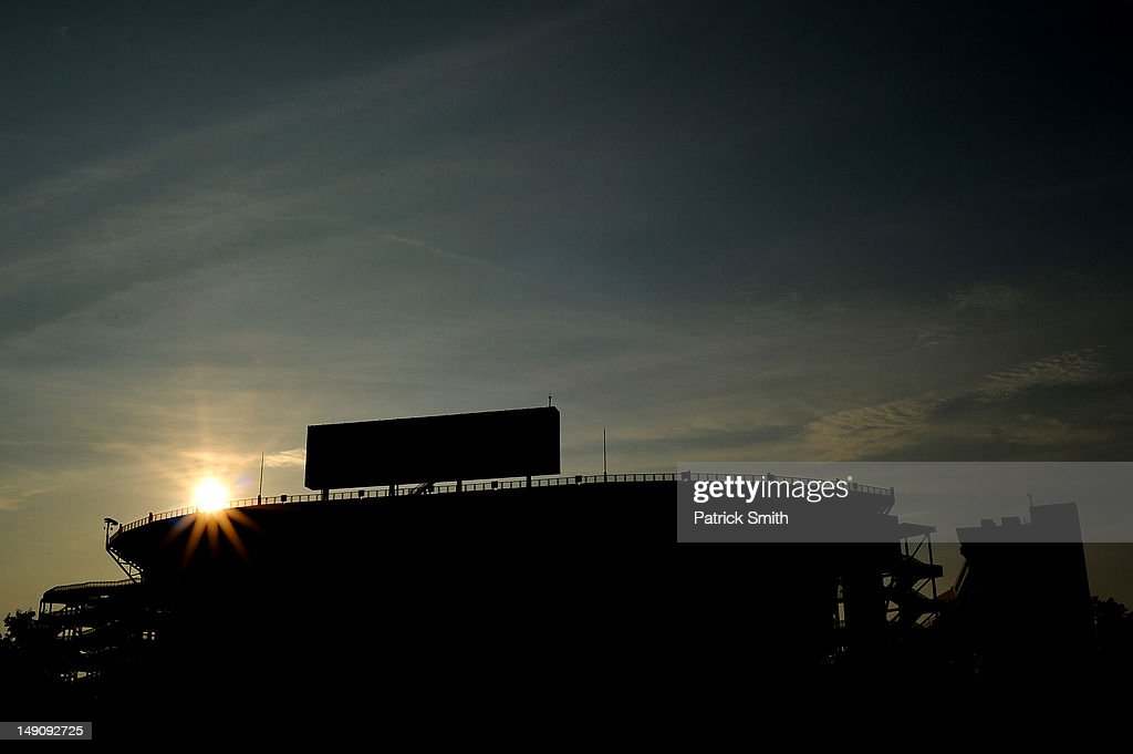 The sun sets behind Beaver Stadium on July 22, 2012 in State College, The statue was removed by workers after Pennsylvania. Penn State's president Rodney Erickson made the decision Sunday in the wake of the child sex scandal of former assistant football coach Jerry Sandusky. According to an FBI report, it is believed that Paterno had detailed knowledge of Jerry Sandusky sexually abusing children before and after Sandusky retired from coaching at Penn State.