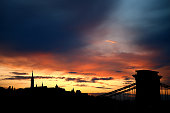The sun sets behind the Chain Bridge and Matthias Church on Buda Castle Hill next to the River Danube during previews ahead of the Formula One Grand...