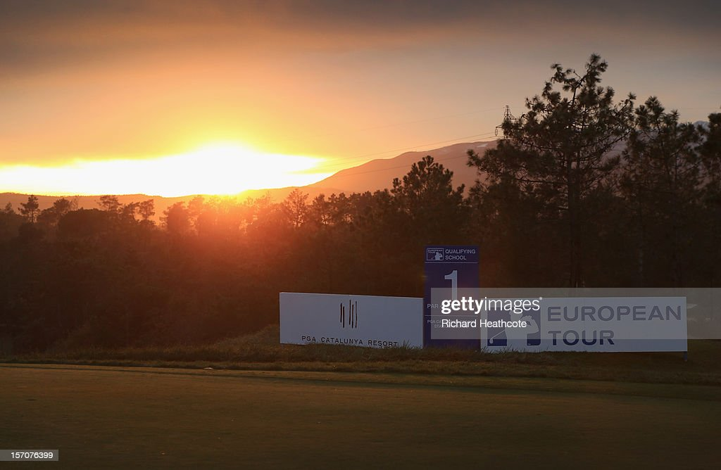 The sun sets behind the first tee after the fifth round of the European Tour Qualifying School Finals at PGA Catalunya Resort on November 28, 2012 in Girona, Spain.