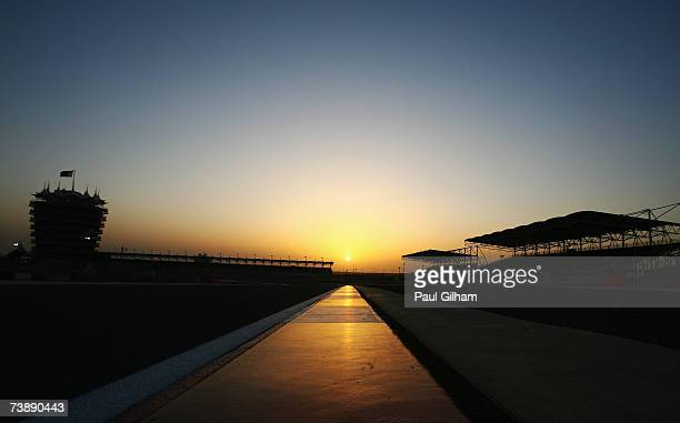 The sun sets behind the grandstands following the Bahrain Formula One Grand Prix at the Bahrain International Circuit on April 15 2007 in Sakhir...