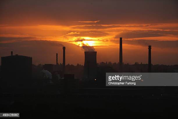 The sun sets behind the Tata Steel processing plant after Tata announced job losses today on October 20 2015 in Scunthorpe England Tata Steel has...