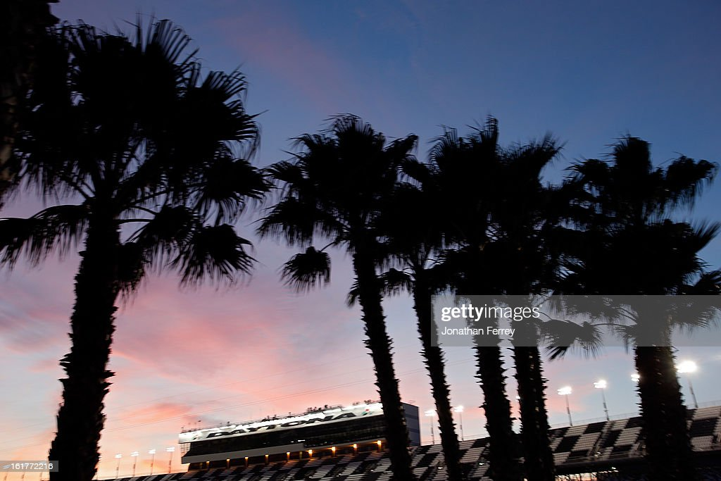 The sun sets during practice for the NASCAR Sprint Cup Series Sprint Unlimited at Daytona International Speedway on February 15, 2013 in Daytona Beach, Florida.