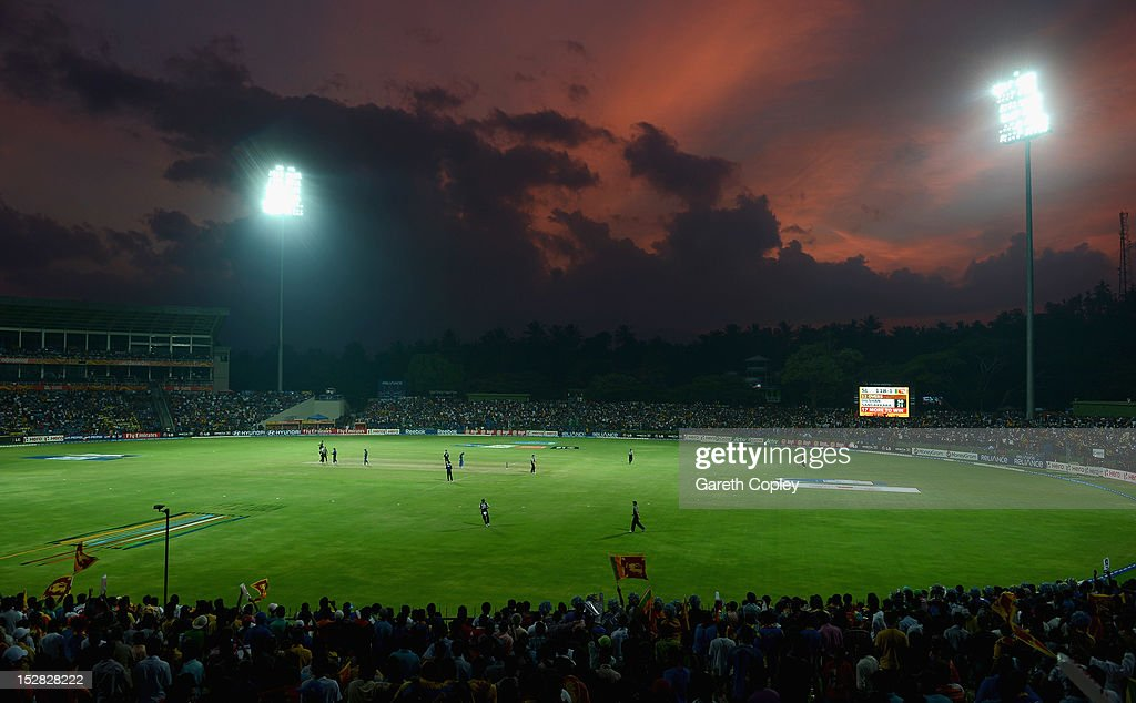 The sun sets during the ICC World Twenty20 2012 Super Eights Group 1 match between Sri Lanka and New Zealand at Pallekele Cricket Stadium on September 27, 2012 in Kandy, Sri Lanka.