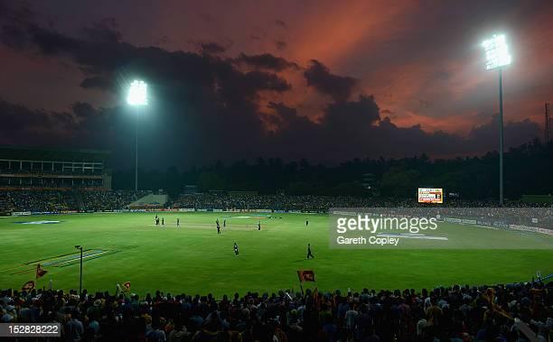 The sun sets during the ICC World Twenty20 2012 Super Eights Group 1 match between Sri Lanka and New Zealand at Pallekele Cricket Stadium on...