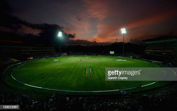 The sun sets during the ICC World Twenty20 2012 Super Eights Group 1 match between England and New Zealand at Pallekele Cricket Stadium on September...