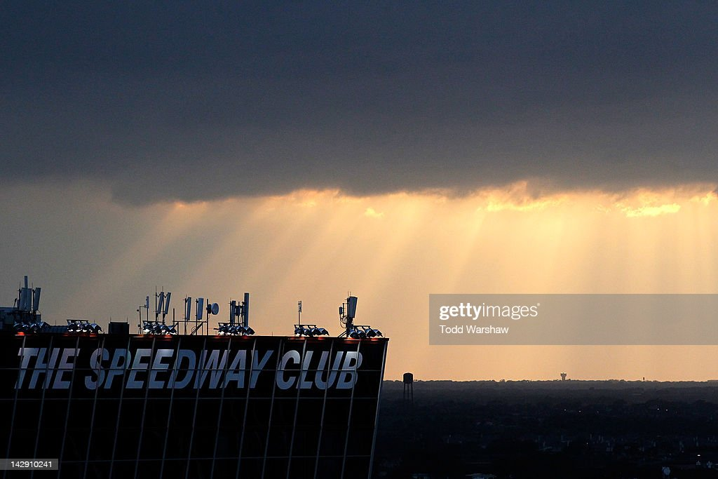 The sun sets during the NASCAR Sprint Cup Series Samsung Mobile 500 at Texas Motor Speedway on April 14, 2012 in Fort Worth, Texas.