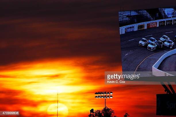 The sun sets during the NASCAR XFINITY Series ToyotaCare 250 at Richmond International Raceway on April 24 2015 in Richmond Virginia