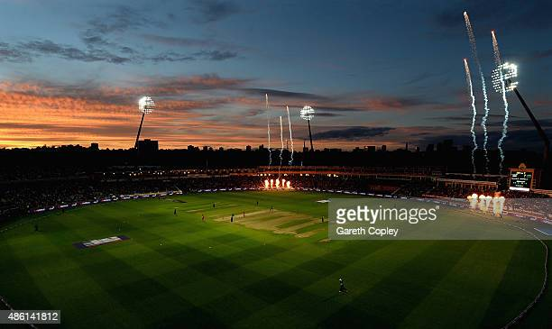 The sun sets during the NatWest T20 Blast Final between Lancashire Lighting and Northamptonshire Steelbacks at Edgbaston on August 29 2015 in...