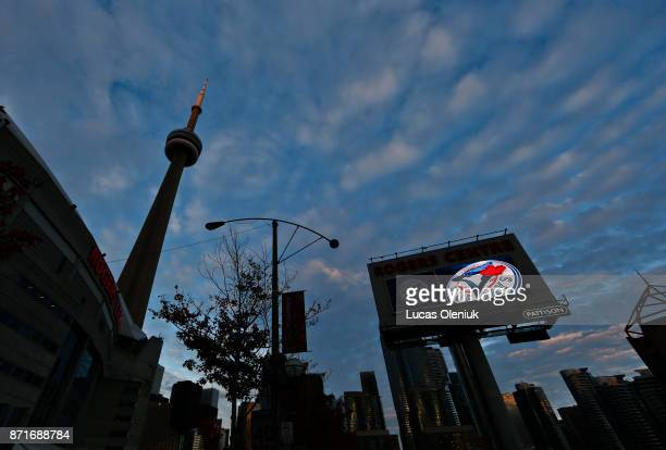 The sun sets on the Rogers Centre on the day former Blue Jay pitcher Roy 'Doc' Halladay was killed in a plane crash