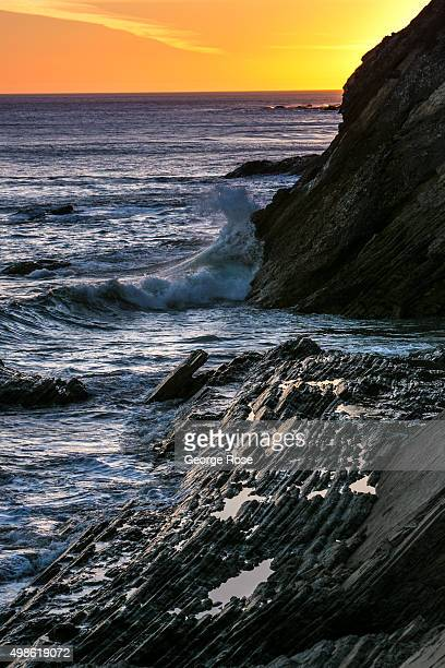 The sun sets on the unusual rock formations found along the Santa Barbara County coast on October 23 at Gaviota State Beach California Because of its...