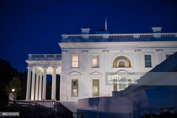 The sun sets on the White House after President Donald J Trump terminated FBI Director James Comey in Washington DC on Tuesday May 09 2017