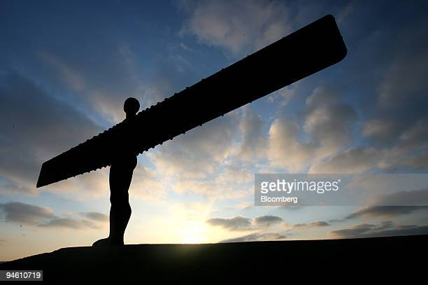 The sun sets over Antony Gormley's 1998 sculpture ''Angel of the North'' Saturday May 5 outside Newcastle UK