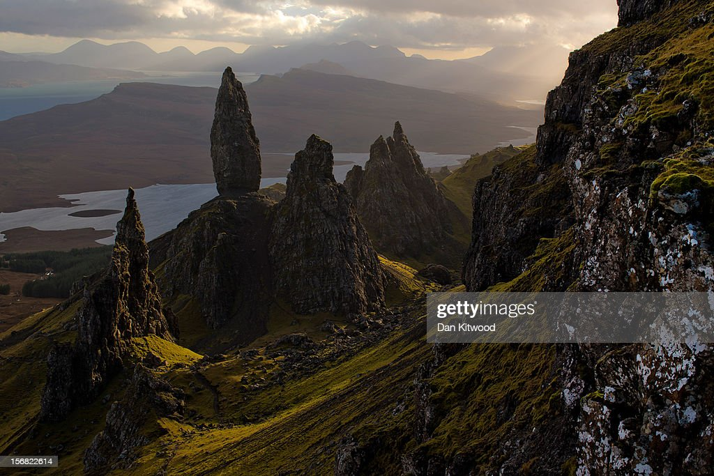 The sun sets over Basalt pinnacles known as 'The Old Man Of Storr,' that make up part of the Trotternish Peninsula and stand over the Sound of Raasay on the Isle of Skye on November 21, 2012 in Scotland, United Kingdom. The remote Islands of the Hebrides in North West Scotland enjoyed some brief respite today as heavy rain overnight has brought widespread disruption to many parts of the UK.