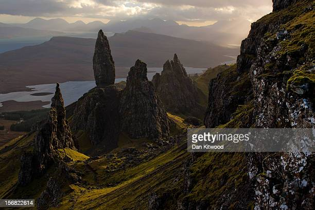 The sun sets over Basalt pinnacles known as 'The Old Man Of Storr' that make up part of the Trotternish Peninsula and stand over the Sound of Raasay...