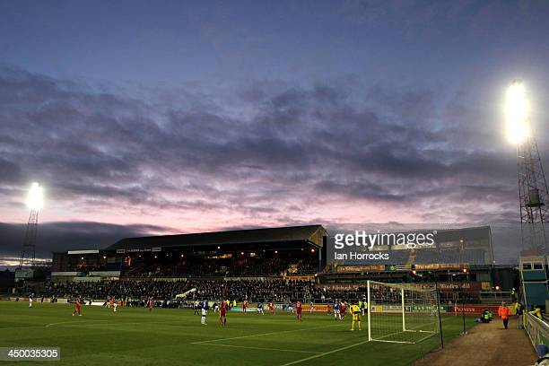 The sun sets over Brunton Park during the Sky Bet League one match between Carlisle United and Crawley Town at Brunton Park on November 16 2013 in...