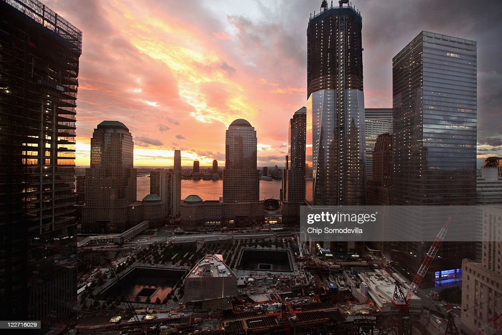 The sun sets over Jersey City and the World Trade Center site, with One World Trade Center to the right on August 28, 2011 in New York City. Hurricane Irene hit New York early Sunday as a Category 1 hurricane before being downgraded to a tropical storm.