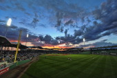 The sun sets over JetBlue Park before the start of a Grapefruit League game between the Tampa Bay Rays and the Boston Red Sox on March 10 2012 in...