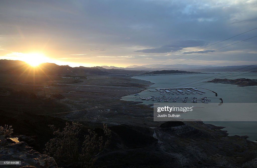 The sun sets over Lake Mead on May 12 2015 in Lake Mead National Recreation Area Nevada As severe drought grips parts of the Western United States...