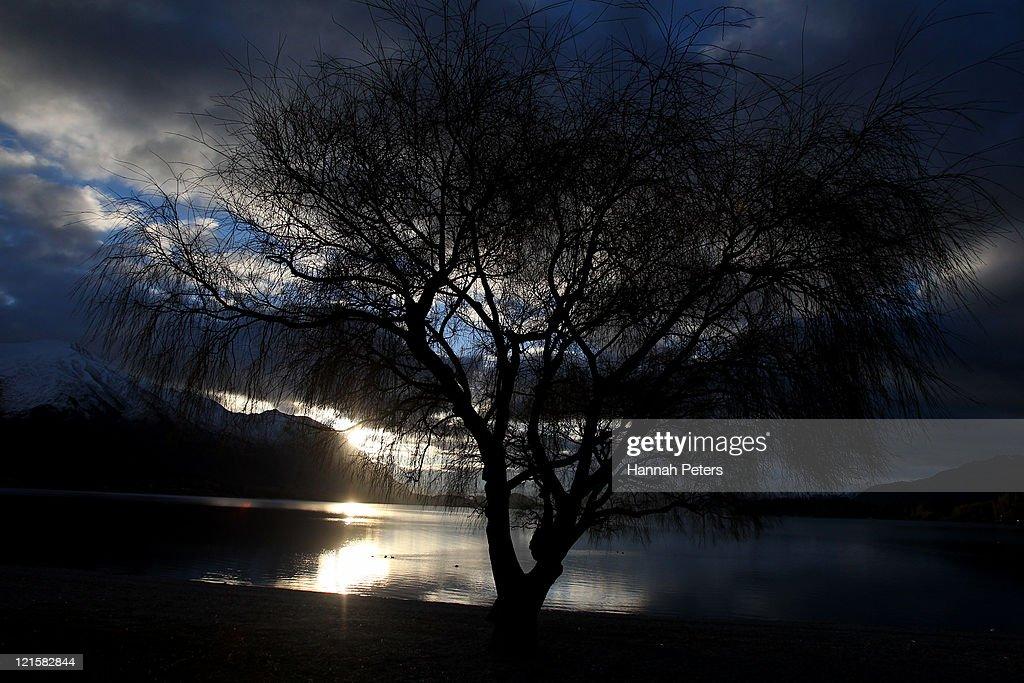 The sun sets over Lake Wanaka on August 17, 2011 in Wanaka, New Zealand.