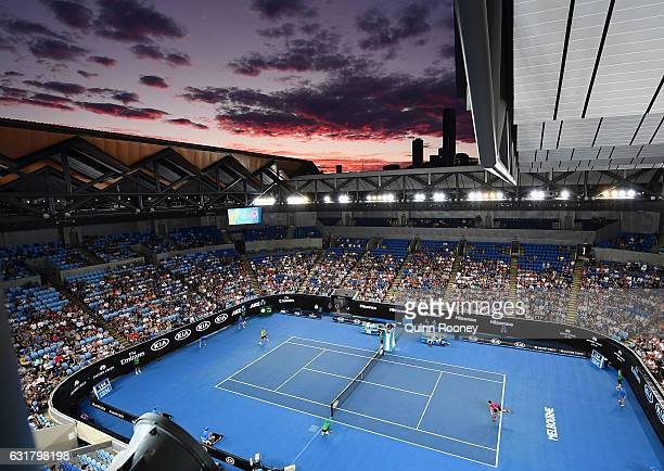 The sun sets over Margaret Court Arena as Stan Wawrinka of Switzerland plays against Martin Klizan of Slovakia on day one of the 2017 Australian Open...