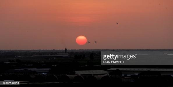 The sun sets over N'Djamena Chad as the United Nations Secretary General Ban Kimoon visits the area 07 September 2007 Ban made the visit to witness...