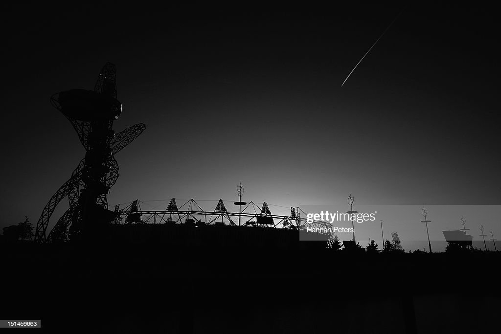 The sun sets over Olympic Park on day 9 of the London 2012 Paralympic Games at on September 7, 2012 in London, England.