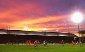 The sun sets over Selhurst Park during a Crystal Palace match circa 1992