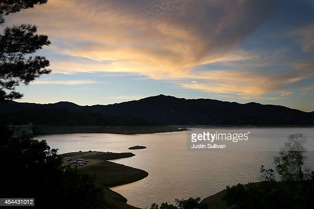 The sun sets over Shasta Lake August 30 2014 in Shasta Lake California As the severe drought in California continues for a third straight year water...